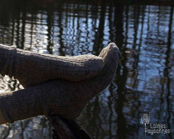 Laines Paysannes chaussettes brunes chinées en laines locales