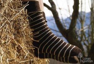 Laines Paysannes chaussettes rayées bicolores en laines locales