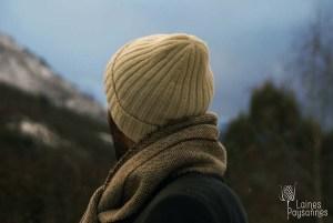Laines Paysannes bonnet et écharpe pour homme en laines locales