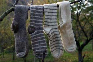 Laines Paysannes gamme de chaussettes unies et rayées en laines locales