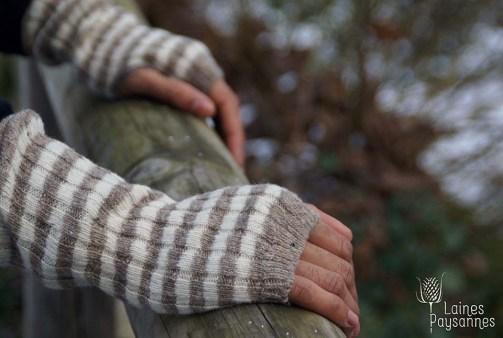 Laines Paysannes mitaines rayées en laines locales