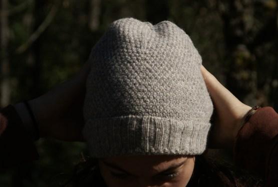 bonnet point de riz gris pure laine ariège