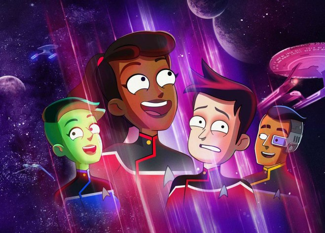 Animated characters are illuminated by a purple-pink light source as they look off into the distance