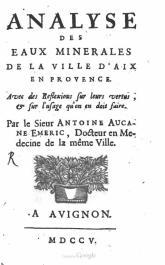 Analyse des eaux minerales de la ville d'Aix en Provence