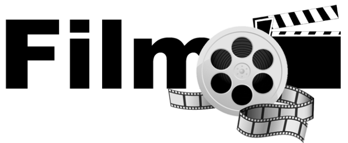 The word Film with a film reel and film slate image