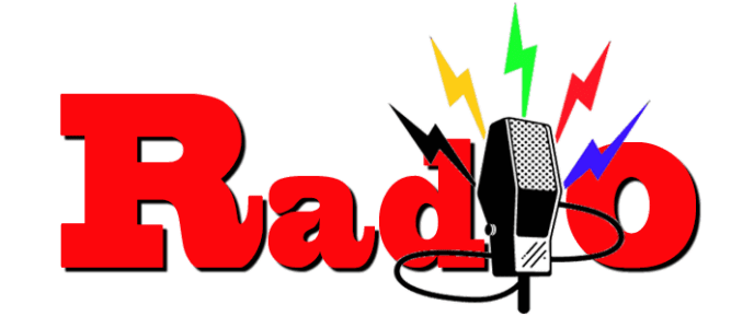 image of the word radio with a mic in frount of the word