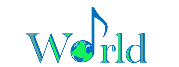 The word world in blue colors and green colers