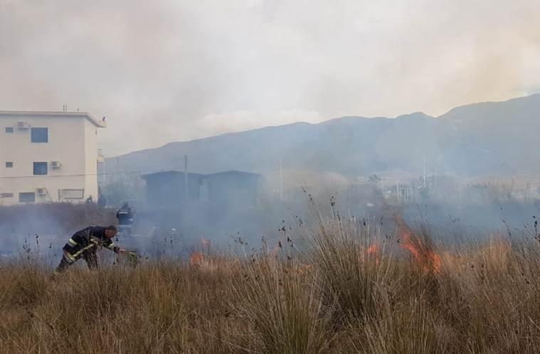 Zjarr pranë Pashalimanit. Marrin flakë kallamishtet