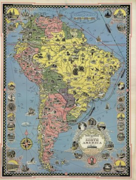 Moore McCormack Lines Pictorial Map of South America   La Jolla Map     Moore McCormack Lines Pictorial Map of South America