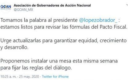 Declaración de la Asociación de Gobernadores de Acción Nacional sobre la revisión de las fórmulas del Pacto Fiscal. Imagen tomada del Twitter @GOAN_MX