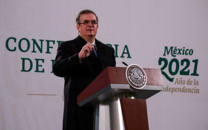El canciller Marcelo Ebrard durante conferencia de prensa el pasado 15 de enero de 2021. Foto Cuartoscuro