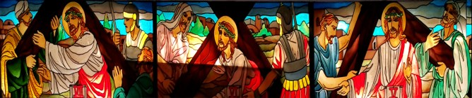Stations of the Cross: Jesus carries the Cross, Jesus Falls & Simon of Cyrene helps Jesus carry the Cross