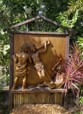 Garden of the Stations of the Cross: Jesus is nailed to the Cross