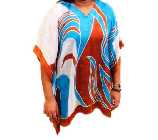 Batik Silk Poncho #8