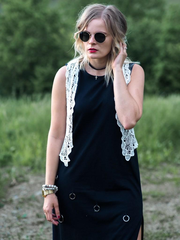 Boho Style, Schwarzes Kleid, Festivallook,