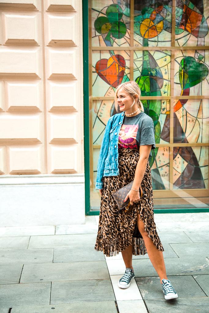 Leoprintrock stylen, Leopring, Leorock, Fashionblogger, Outfit, Streetstyle, Jeansjacke, Converse