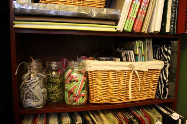 Ribbon in jars, Basket holds mini albums