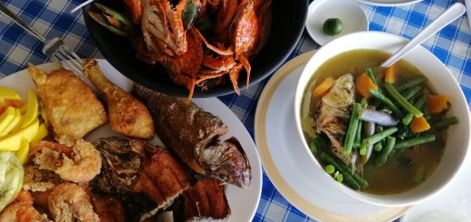 photo of the food we ordered at patio del sol seafood restaurant namely: seafood medley, mixed fried seafood and chicken and dinengdeng.