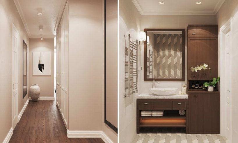 Дизайны - квартира 46м2 в бежевых, серых, белых тонах, натуральные материалы