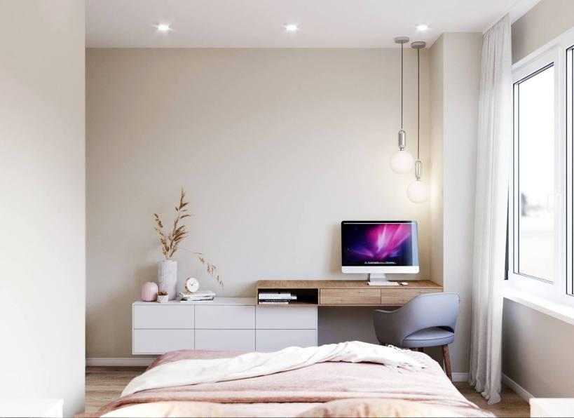 Красивые цвета, идеальное использование пространства - уютная квартирка для барышни