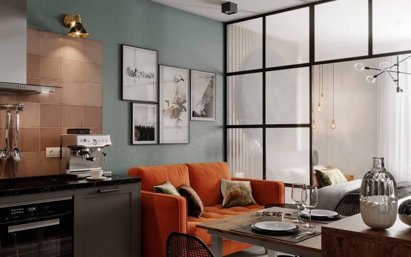Прекрасный пример разделения пространства стеклянными стенами и безупречного использования пространства в уютной квартире 30м2.
