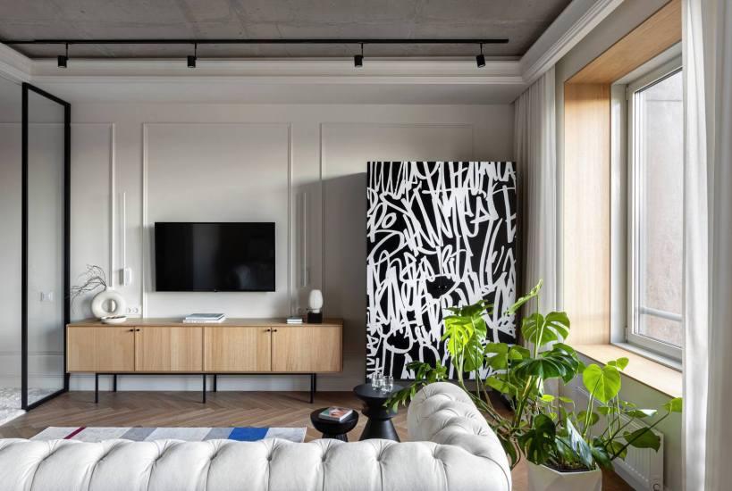 Простор, воздушность, классика в сочетании с модерном на 44м2 - меблированная квартира в стиле бутик-отеля.