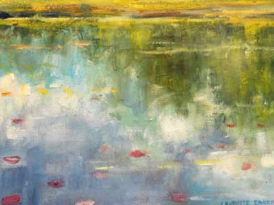First Lily Pads - Impressionist Art by Laurette Carroll