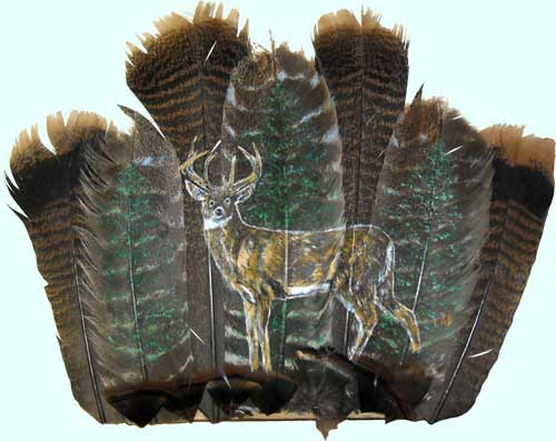 deer and trees on feathers