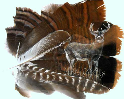 deer on feathers
