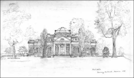 Monticello Pencil Sketch by Rosemary McGuirk