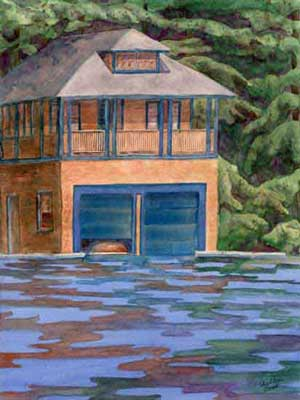 Blue Doors Boathouses by JoAnn Pippin