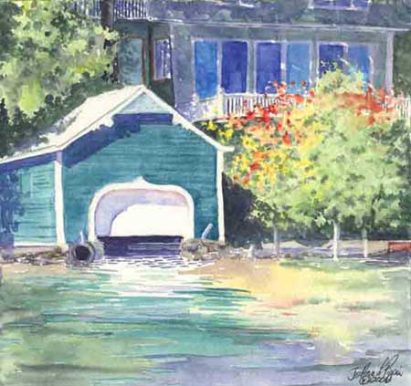 Classic Teal Boathouse by JoAnn Pippin