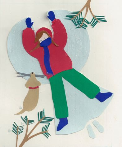 Snow Angel Paper Collage by Rosemary McGuirk