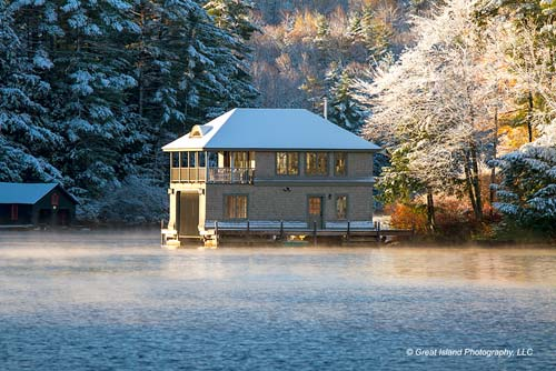 Boathouse with Winter Frosting
