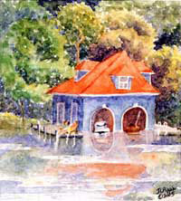 Captain Dave's Boathouse - Lake Sunapee Boathouse by JoAnn Pippin