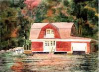 Gambrel - Lake Sunapee Boathouse by JoAnn Pippin