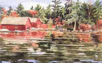 Red Twins - Lake Sunapee Boathouse by JoAnn Pippin