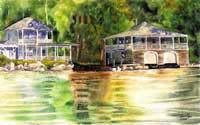 Retreat - Lake Sunapee Boathouse by JoAnn Pippin