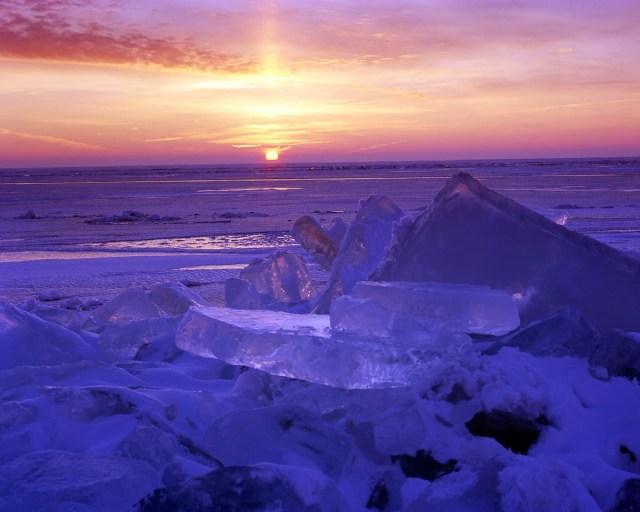 Cold Sunrise Over Lake Winnebago Ice Shove