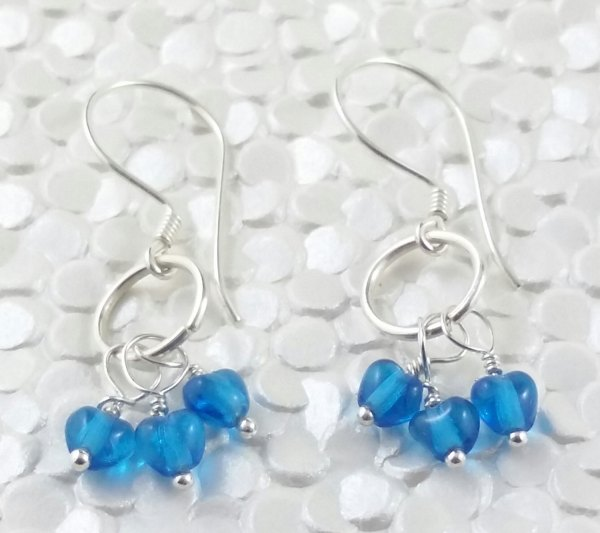 Petite Blue Heart Trio Sterling Silver Wire Wrapped Dangly Earrings Handmade Circle Drop Loveheart Tiny Dainty Elegant Handcrafted SE143