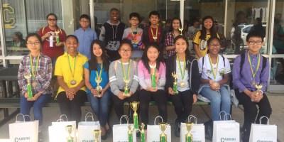 Cabrini Math Tournament Team with trophies