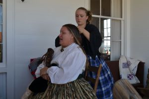 Live early Texas settler reenactors were part of the historical theme