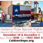 Santa's Wonderland to host TWO special CAIDEN'S HOPE NIGHTS — Thursday, Nov 29 and Wednesday, Dec. 5! YOU are invited to join us and experience the Wonder of Christmas at Santa's Wonderland — a Texas Christmas Experience!