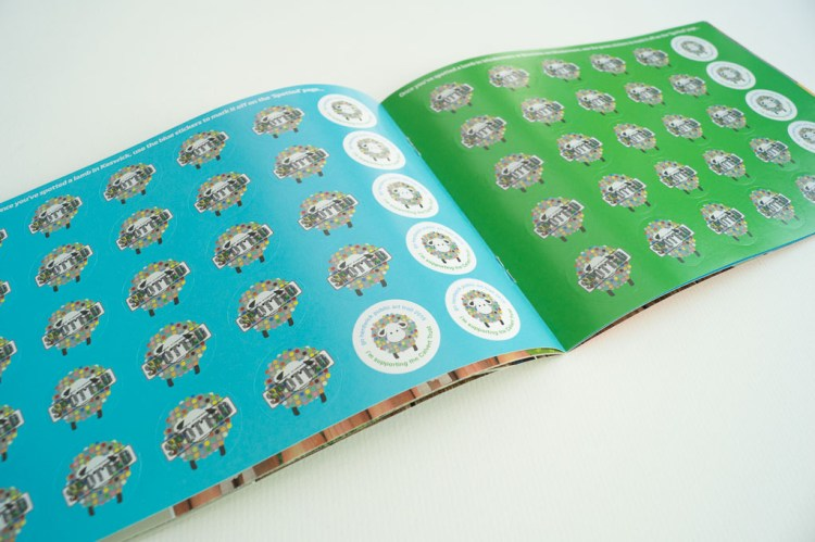 Sticker pages in the Go Herdwick activity book