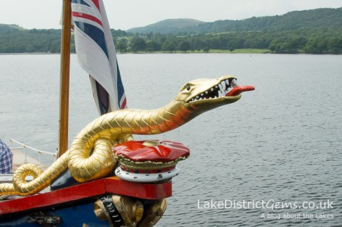 Sidney the sea serpent on the front of the National Trust's Steam Yacht Gondola