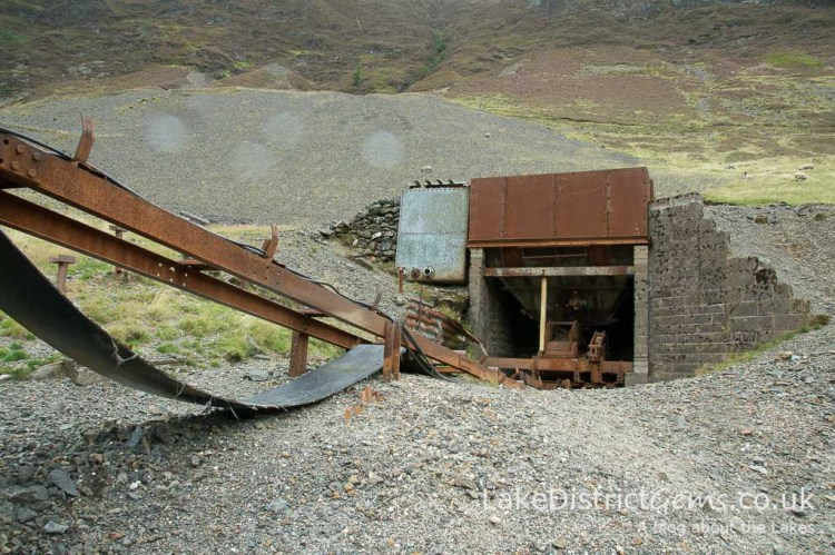 The hopper at Force Crag Mine's processing mill