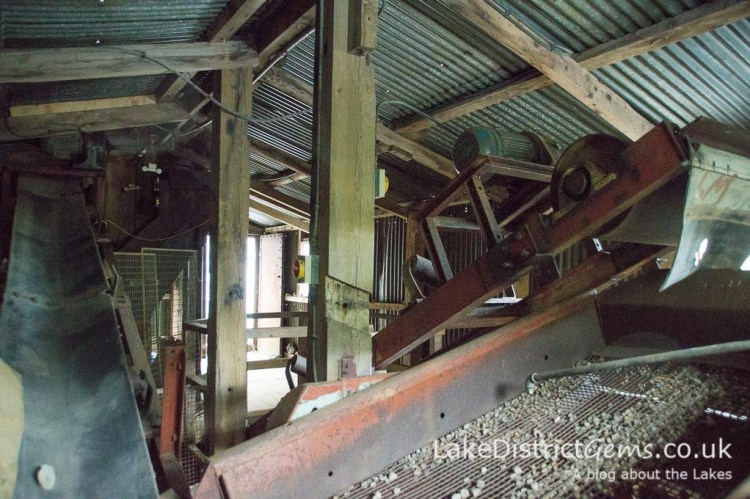 Inside the top level of the processing mill at Force Crag Mine