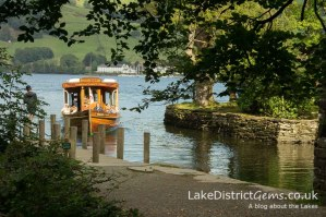 The boat coming in to the jetty at Wray Castle