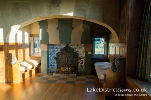 The inglenook fireplace in the dining room at Blackwell