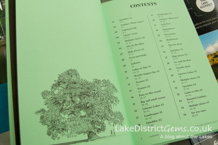 Contents from The Lake District Quiz Book by David Felton, published by Inspired by Lakeland